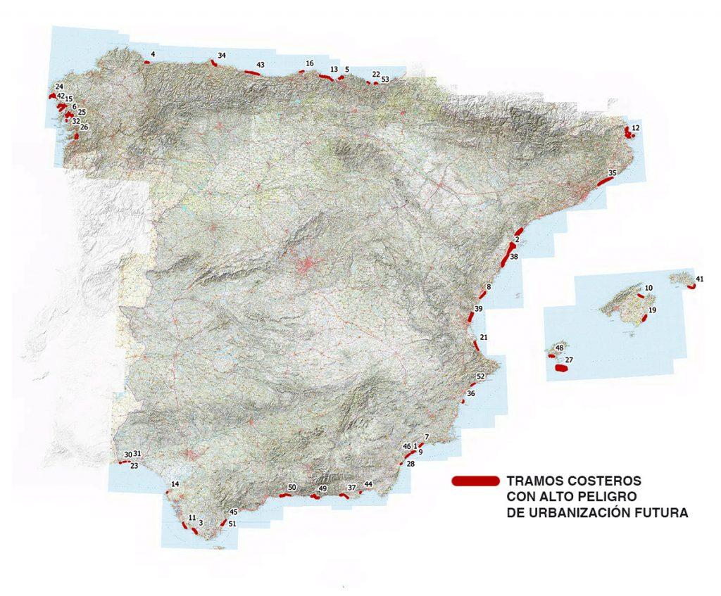 mapa de la península con las zonas de alta presión urbanizadora