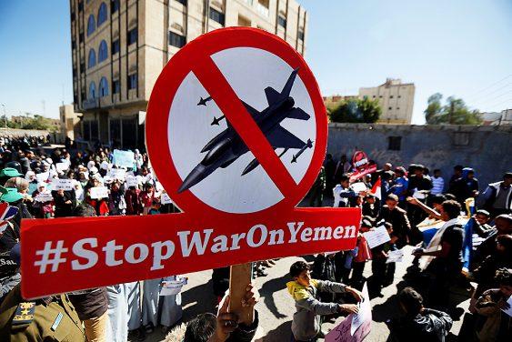 Los niños protestan en Sanaa, Yemen